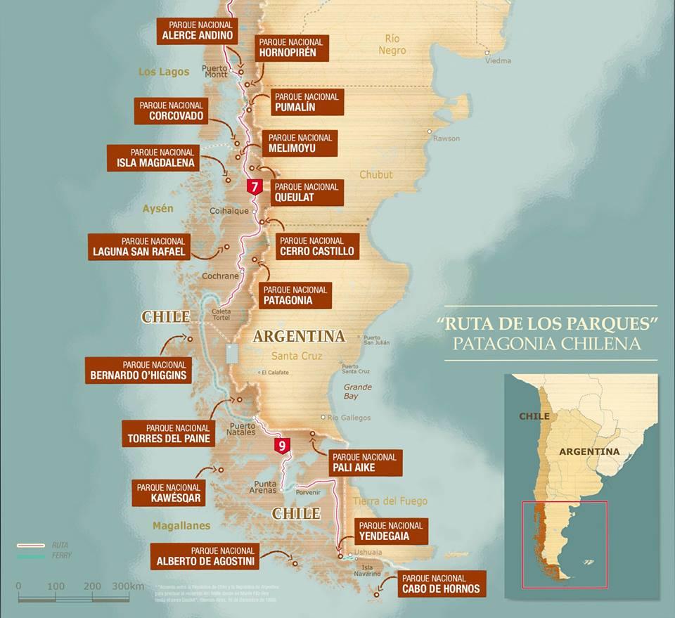 Mapa - Ruta de los Parques de la Patagonia